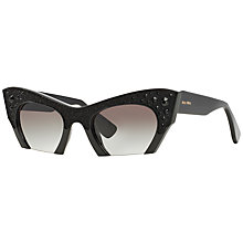 Buy Miu Mui MU02QS Cat's Eye Frame Sunglasses, Black Online at johnlewis.com