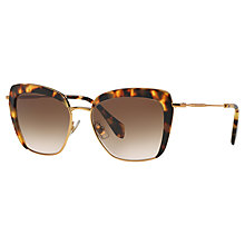 Buy Miu Miu MU 52QS 7S00A6 Oversize Square Frame Sunglasses, Light Havana Online at johnlewis.com