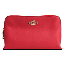 Buy Coach Embossed Leather Small Makeup Bag, Red Online at johnlewis.com