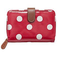 Buy Cath Kidston Button Spot Folded Zip Wallet, White/Red Online at johnlewis.com