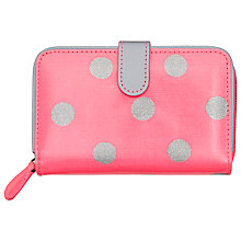 Buy Cath Kidston Button Spot Folded Zip Wallet,  Pink/Grey Online at johnlewis.com