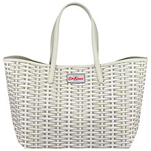 Buy Cath Kidston Wicker Large Leather Trim Tote, White Online at johnlewis.com