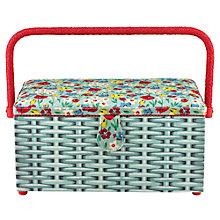 Buy Cath Kidston Paradise Fields Large Sewing Basket, Sage Online at johnlewis.com