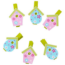 Buy John Lewis Birdhouse Mini Pegs, Pack of 6, Multi Online at johnlewis.com