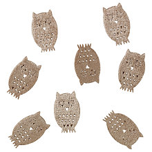 Buy John Lewis Fabric Owls Topper, Pack of 8, Beige Online at johnlewis.com