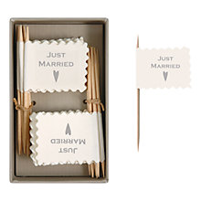 Buy East of India 'Just Married' Little Flags, Pack of 16, Cream Online at johnlewis.com