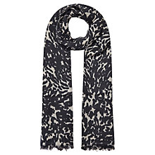 Buy Whistles Leopard Wool Scarf, Black Online at johnlewis.com