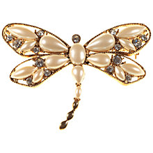 Buy Alice Joseph Vintage Monet Gold Plated Pearl Diamante Dragonfly Brooch, White Online at johnlewis.com