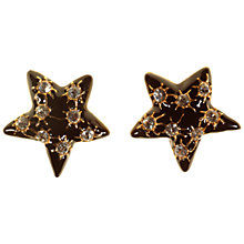 Buy Alice Joseph Vintage 1980's Silver Toned Enamel Diamante Clip-On Star Earrings, Black Online at johnlewis.com