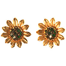 Buy Alice Joseph Vintage Monet Sunflower Clip Earrings, Gold/Green Online at johnlewis.com