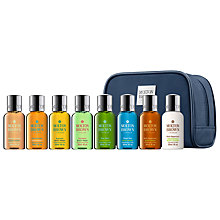 Buy Molton Brown Blue Mini Stowaway Men's Body Wash and Lotion Set, 8 x 30ml Online at johnlewis.com