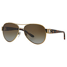 Buy Ralph Lauren RL7047Q Polarised Aviator Sunglasses, Gold Online at johnlewis.com