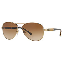 Buy Burberry BE3080 Pilot Sunglasses, Gold/Brown Online at johnlewis.com