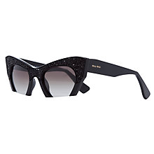 Buy Miu Miu MU01QS0 Cat's Eye Frame Sunglasses, Black Online at johnlewis.com