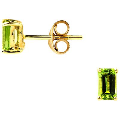 A B Davis 9ct Yellow Gold Emerald Cut Peridot Earrings Green