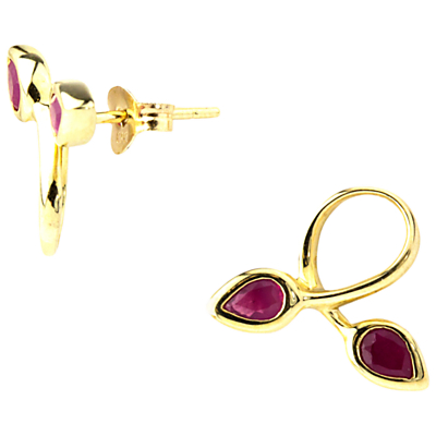 A B Davis 9ct Gold Ruby Double Leaf Stud Earrings, Red