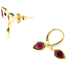 Buy A B Davis 9ct Gold Ruby Double Leaf Earrings, Red Online at johnlewis.com