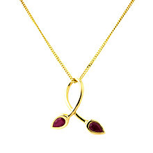 Buy A B Davis 9ct Gold Ruby Double Leaf Pendant Necklace, Red Online at johnlewis.com