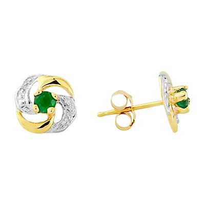 A B Davis 9ct Gold Emerald Knot Shaped Earrings Green