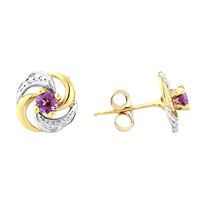 A B Davis 9ct Gold Amethyst Knot Shaped Stud Earrings, Purple