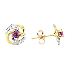 Buy A B Davis 9ct Gold Amethyst Knot Shaped Stud Earrings, Purple Online at johnlewis.com