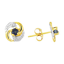 Buy A B Davis 9ct Gold Sapphire Knot Earrings, Gold Online at johnlewis.com