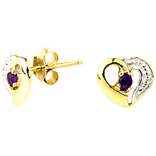 Buy A B Davis 9ct Gold Amethyst Heart Shape Earrings, Purple Online at johnlewis.com