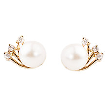 Buy A B Davis 9ct Yellow Gold Cubic Zirconia Cultured Pearl Earrings, White Online at johnlewis.com