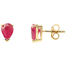 Buy A B Davis 9ct Gold Ruby Pear Shape Earrings, Red Online at johnlewis.com