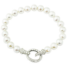 Buy A B Davis Silver Freshwater Pearl Cubic Zirconia Bracelet, Silver Online at johnlewis.com