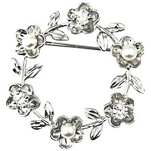 Buy A B Davis Silver Freshwater Pearl Flower Brooch, Silver Online at johnlewis.com