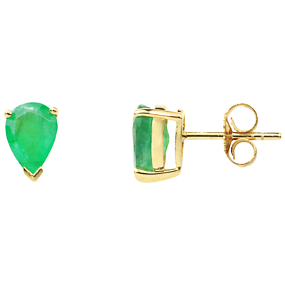 A B Davis 9ct Gold Emerald Earrings Green