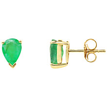 Buy A B Davis 9ct Gold Emerald Earrings, Green Online at johnlewis.com