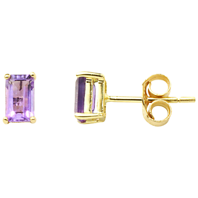 A B Davis 9ct Gold Amethyst Stud Earrings, Purple