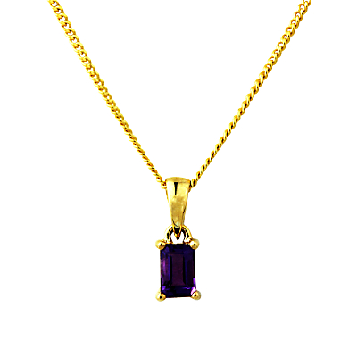 A B Davis 9ct Gold Amethyst Pendant Necklace, Purple