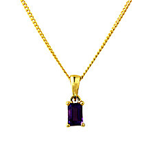 Buy A B Davis 9ct Gold Amethyst Pendant Necklace, Purple Online at johnlewis.com