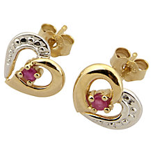 Buy A B Davis 9ct Gold Ruby Heart Shape Earrings, Red Online at johnlewis.com