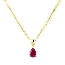 Buy A B Davis 9ct Gold  Ruby Pendant Necklace, Red Online at johnlewis.com