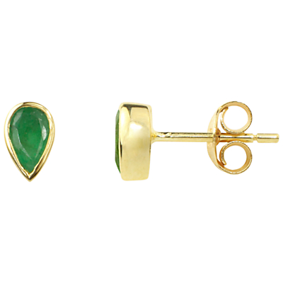 A B Davis 9ct Gold Emerald Rubover Stud Earrings Green