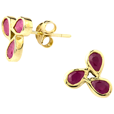 A B Davis 9ct Gold Ruby Triple Design Earrings, Red