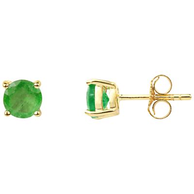 A B Davis 9ct Gold Emerald Stud Earrings Green