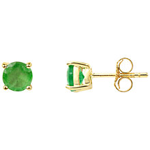 Buy A B Davis 9ct Gold Emerald Stud Earrings, Green Online at johnlewis.com
