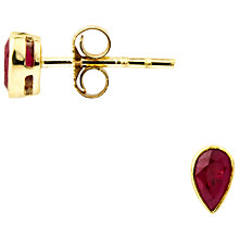Buy A B Davis 9ct Gold Ruby Rubover Earrings, Red Online at johnlewis.com