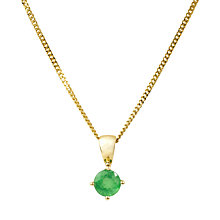 Buy A B Davis 9ct Gold Emerald Pendant Necklace, Green Online at johnlewis.com