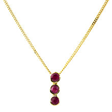 Buy A B Davis 9ct Yellow Gold Triple Round Pendant, Ruby Online at johnlewis.com