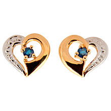 Buy A B Davis 9ct Gold Sapphire Heart Shape Earrings, Blue Online at johnlewis.com