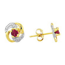 Buy A B Davis 9ct Yellow Gold Knot Shaped Ruby Earrings, Ruby Online at johnlewis.com