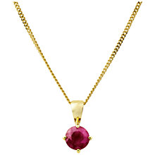 Buy A B Davis 9ct Yellow Gold Pendant, Ruby Online at johnlewis.com