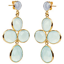 Buy Auren 22ct Gold Vermeil Aqua Chalcedony Drop Earrings, Gold Online at johnlewis.com
