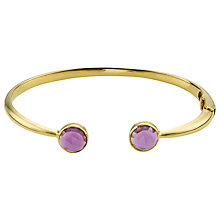 Buy John Lewis Gemstones 18ct Gold Plated Amethyst Hinged Cuff Bracelet, Gold Online at johnlewis.com